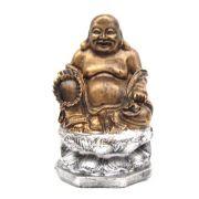 Buda Chinês Flor De Lótus Estátua Prata com ouro .