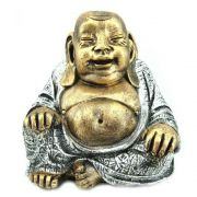 Buda Chines Grande Da Fortuna Dourado E Prata.