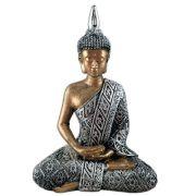 Buda Hindu Tailandês Tibetano Sidarta Prata com ouro.