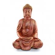 Buda Tibetano grande Vermelho Cor Madeira.