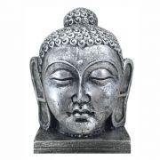 Cabeça de Buda estátua decoração Prata Envelhecido.