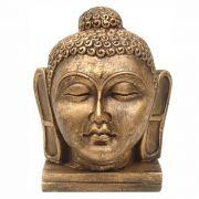 Cabeça de Buda estátua decoração Ouro Envelhecido.