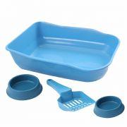 Caixa de areia Bandeja Higiênica com pazinha e comedouros - Azul