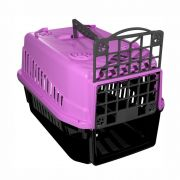 Caixa de transporte cachorro ou gato pequeno porte prime Nº1 - Rosa.