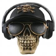 Caveira Crânio Fone de ouvido com boné Preto