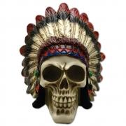 Caveira Crânio indígena com Cocar grande