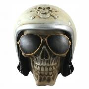 Caveira Crânio motoqueiro capacete Branco