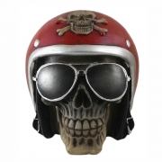 Caveira Crânio motoqueiro capacete Vermelho
