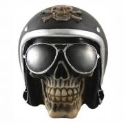 Caveira Crânio Motoqueiro com capacete Preto
