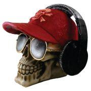 Caveira Crânio Fone de ouvido com boné Vermelho.