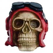 Crânio caveira aviador vermelho com óculos pequeno