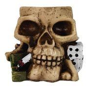 Crânio caveira Cinzeiro jogador poker.