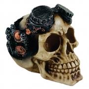 Cranio Caveira Engrenagem Halloween Estatua Enfeite Resina