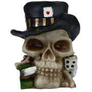 Crânio Caveira jogador de poker Cartola estatua