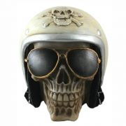 Crânio caveira motoqueiro capacete Branco.