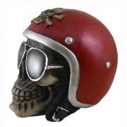 Crânio Caveira motoqueiro capacete Vermelho.