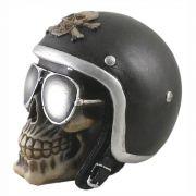Crânio caveira Motoqueiro com capacete Preto