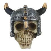 Crânio soldado Viking com Chifre curto medieval .