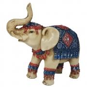 Elefante indiano grande colorido resina envelhecido