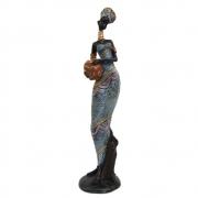 Escultura Africana Com Vaso decorativa resina Grande