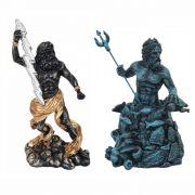 Escultura Zeus senhor céus e Poseidon Deus dos Mares.