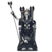 Esqueleto Rei No Trono Caveira Crânio Estátua Decorativa Grande