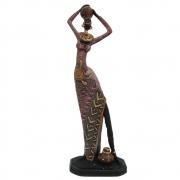 Estátua Africana Com Vaso Decoração em resina Grande