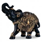 Estátua Elefante da sorte médio estilizado resina preto