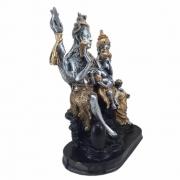 Estátua família Shiva parvati e Ganesha indiano prata e ouro