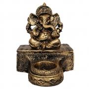 Estátua Ganesha com base e castiçal cor ouro