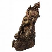 Estátua Ganesha grande cor ouro envelhecido