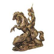 Estátua São Jorge com Cavalo e Dragão Ogum Decorativo Cor Ouro