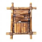 Fonte bambu grande de parede com 3 quedas premium