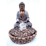 Fonte de Água Buda Cor prata com Bola Vidro e luz colorida