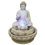 Fonte de água Buda Hindu com luz colorida branco envelhecido