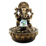 Fonte de água Ganesha com esfera e Luz Colorida cor ouro.