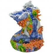 Fonte de água Golfinho fundo do mar grande azul