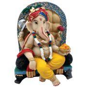 Ganesha Na Poltrona colorida decoração.