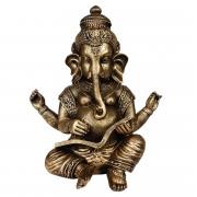 Ganesha grande com livro indiano cor ouro
