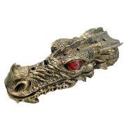 Incensário Dragão cabeça vareta grande cor ouro.