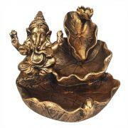 Incensário Ganesha Cascata de Folhas porta incenso Backflow