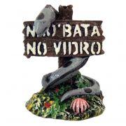 Placa Não Bata No Vidro com serpente enfeite para aquário.