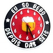 Relógio Eu Só Bebo Depois Das 6 Seis Vermelho
