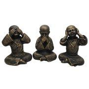 Trio Buda Chinês Cego Surdo e Mudo estátua