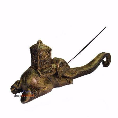 Incensário Indiano elefante estilo Barra cor ouro.