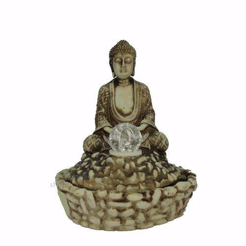 Fonte Água Buda Com Bola De Vidro e luz colorida.