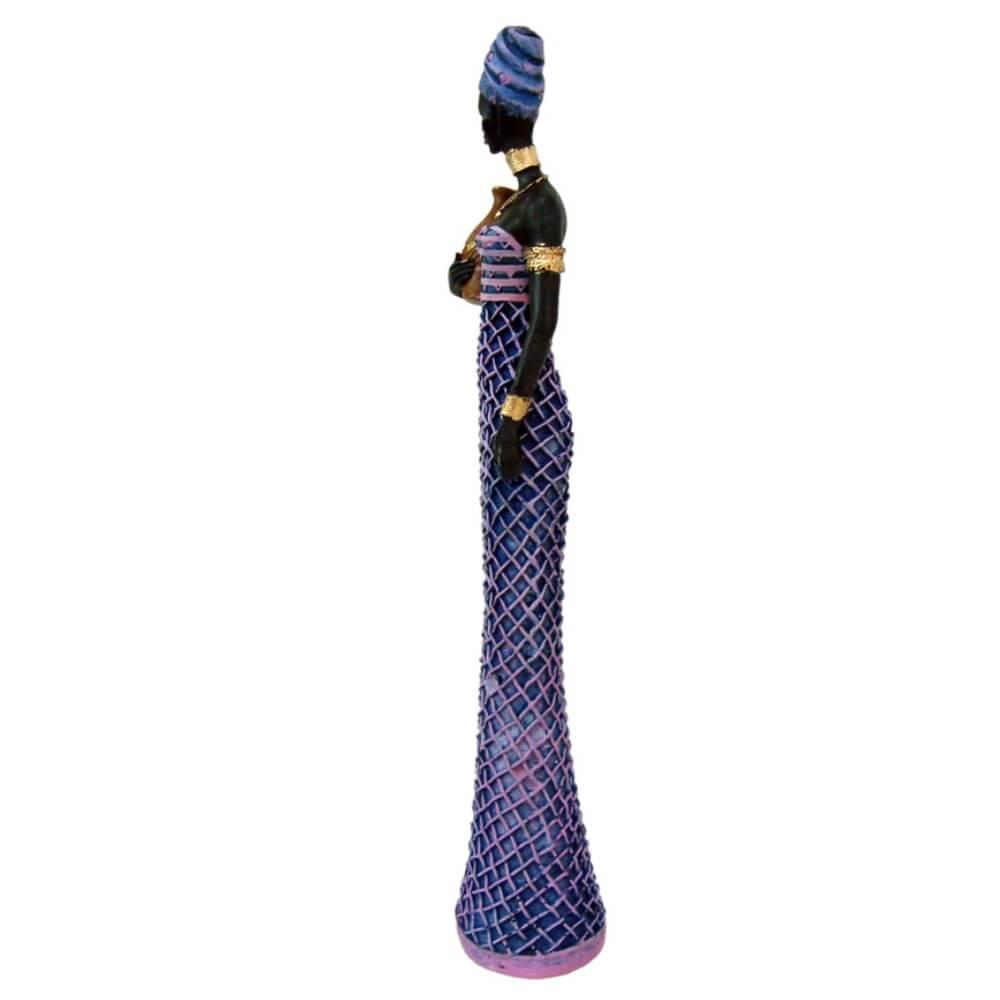 Estátua Escultura Africana de Vestido Trancado Grande
