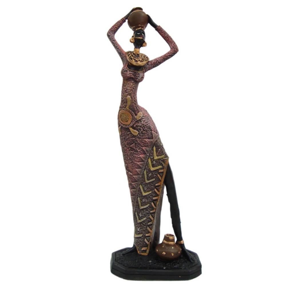 Estátua Africana Com Vaso Decorativa Grande