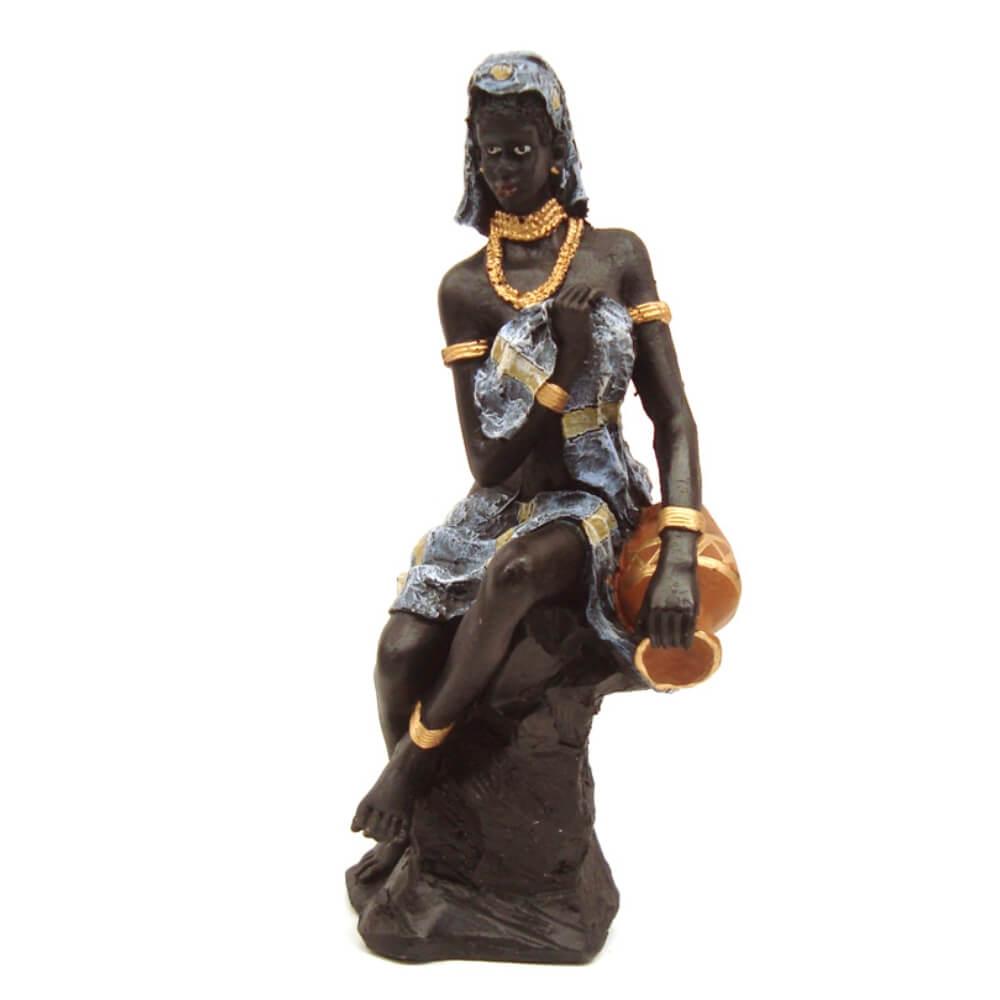 Africana Sentada decoração Com Vaso Grande