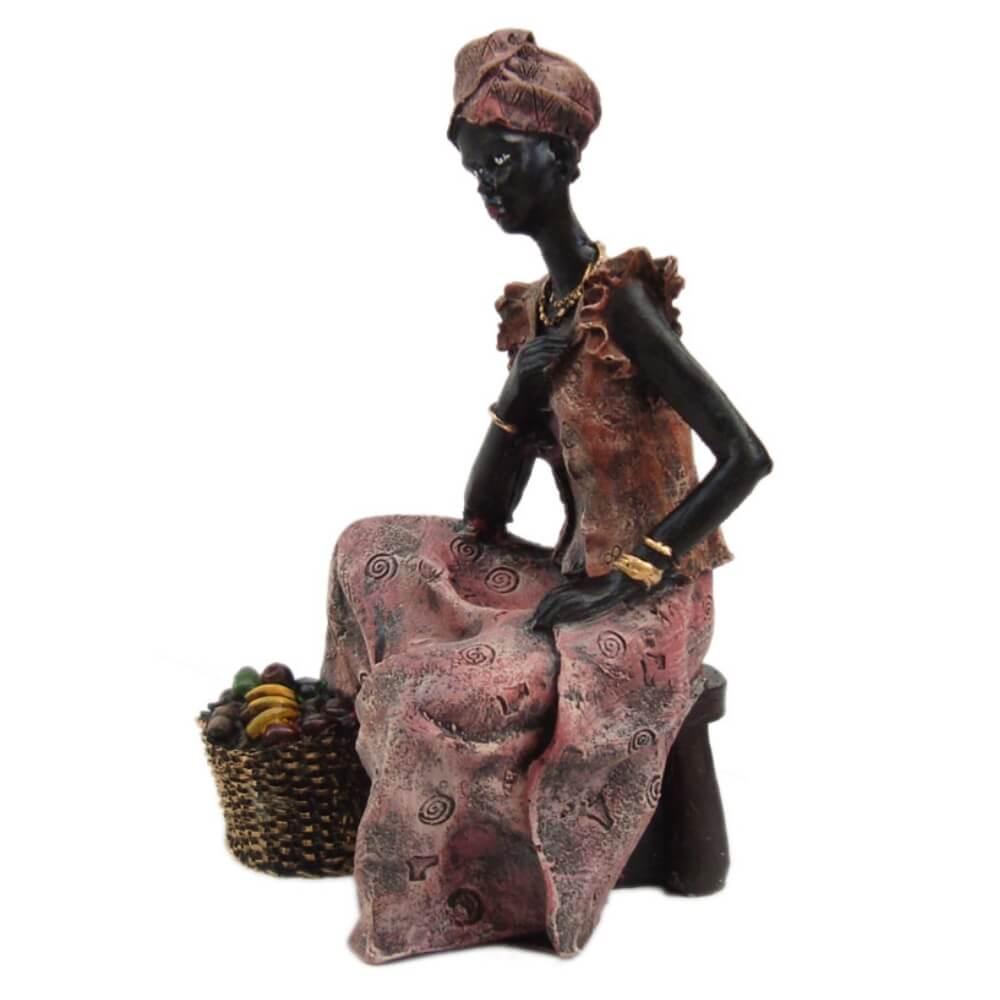 Estátua Africana Enfeite Sentada Grande